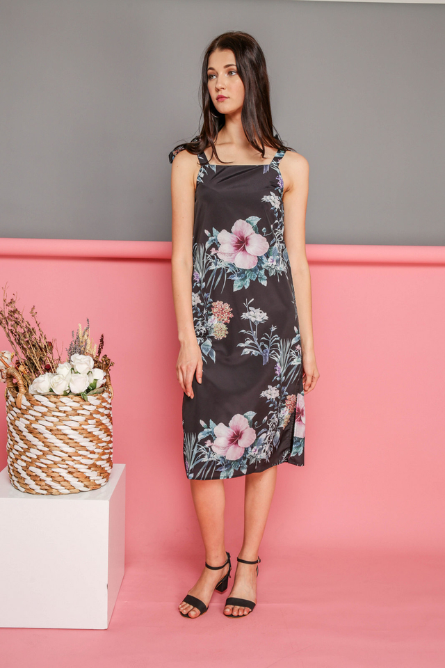 Alina Tie Ribbon Floral Dress in Black