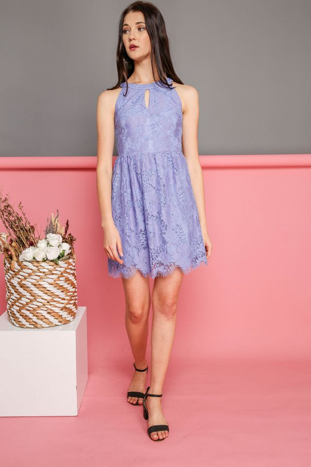 Adeline Keyhole Lace Dress in Periwinkle (XS)