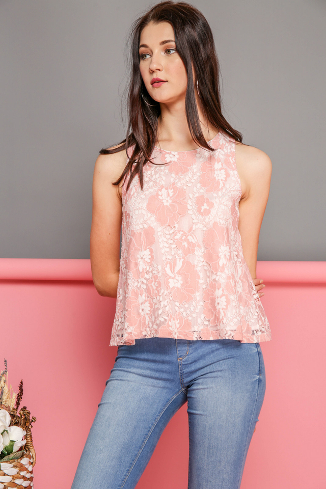 Aurelia Lace Floral Top in Powder Pink