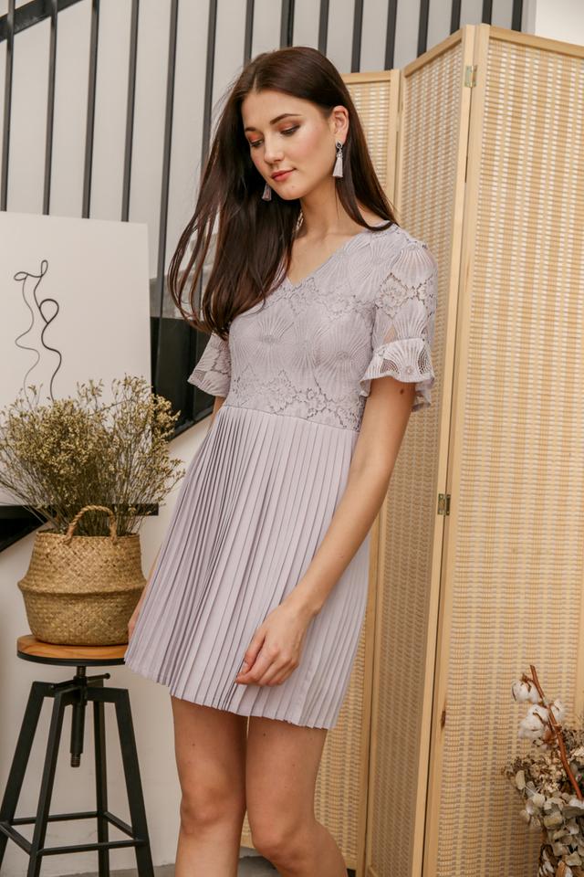 Zann Lace Pleated Dress in Grey