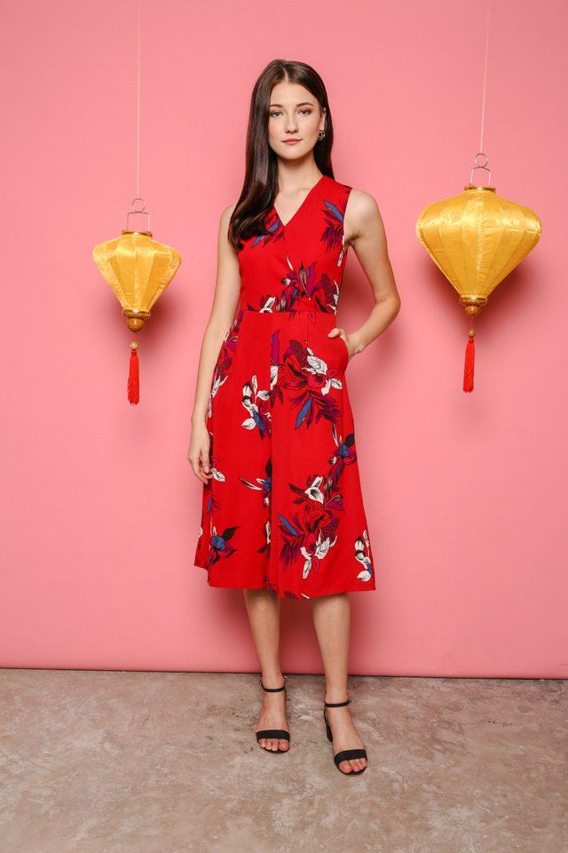 Anthea Printed Jumpsuit in Red