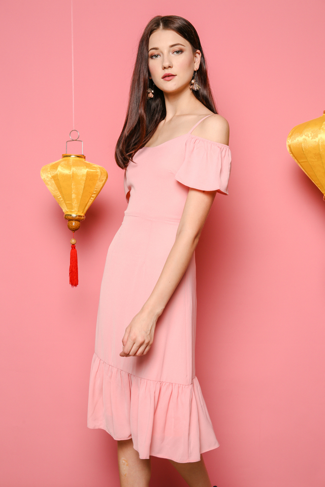 Shanice Cold Shoulder Midi Dress in Pink