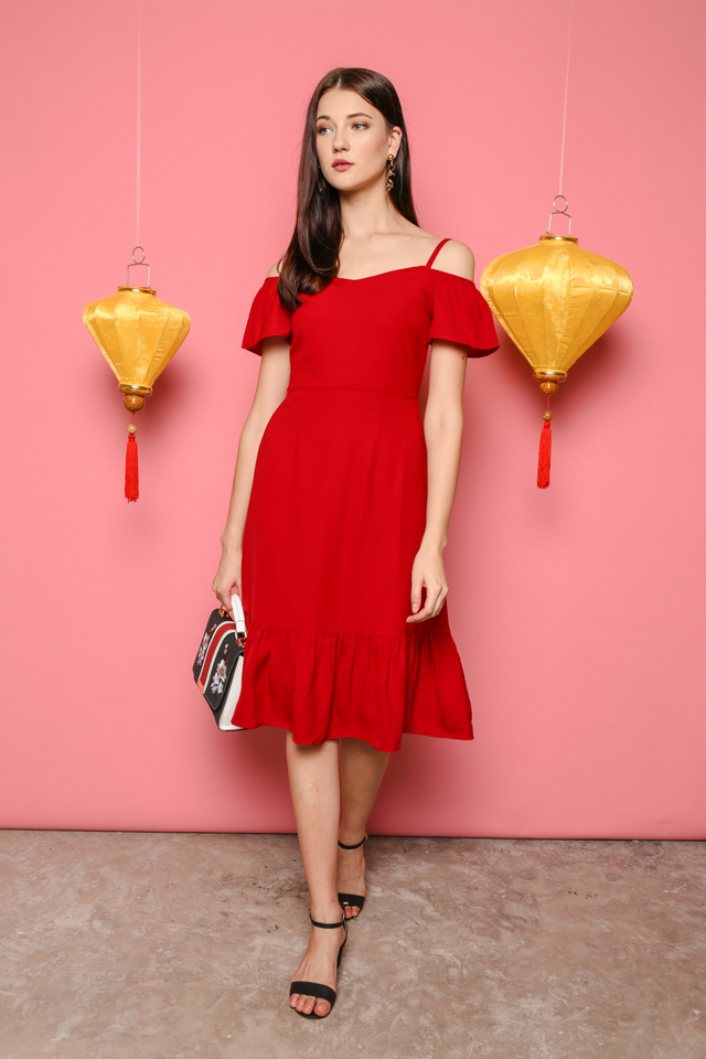 Shanice Cold Shoulder Midi Dress in Red (XS)