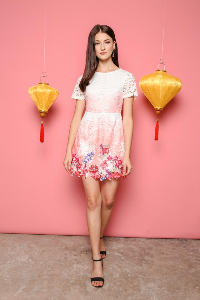 June Floral Crochet Dress in Pink