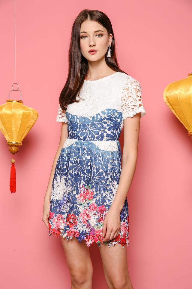 June Floral Crochet Dress in Blue