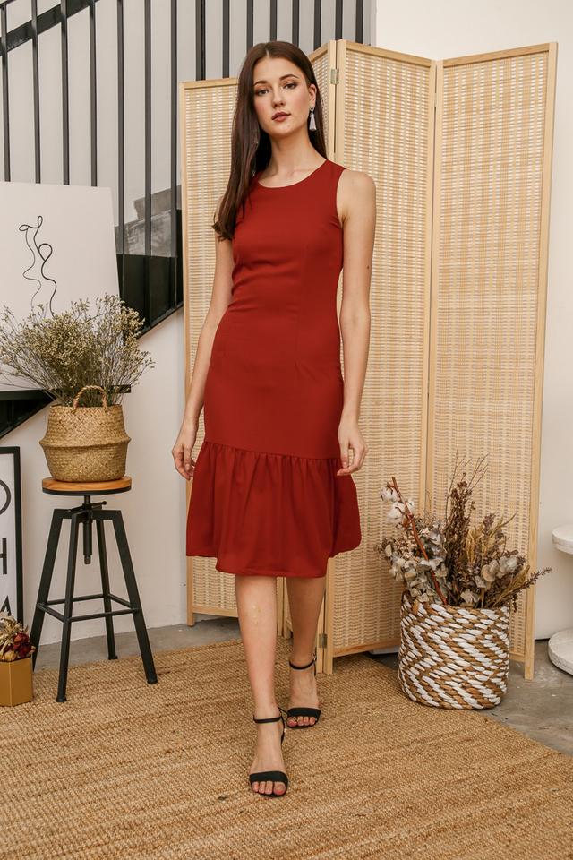 Laura Basic Midi Dress in Burnt Orange