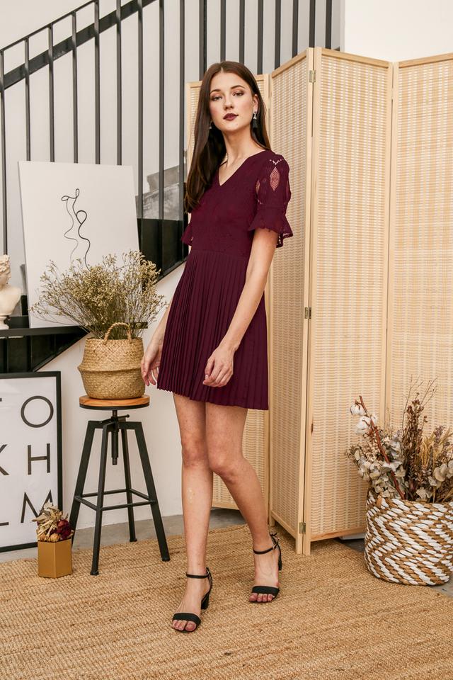 Zann Lace Pleated Dress in Deep Purple (L)