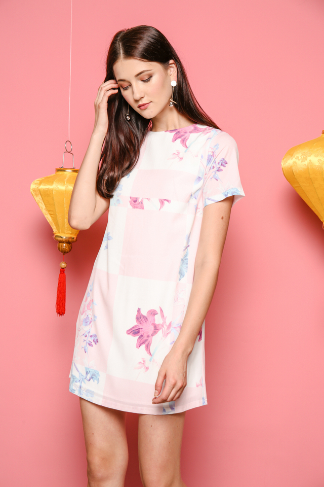 Melissa Pastel Shift Dress in Baby Pink