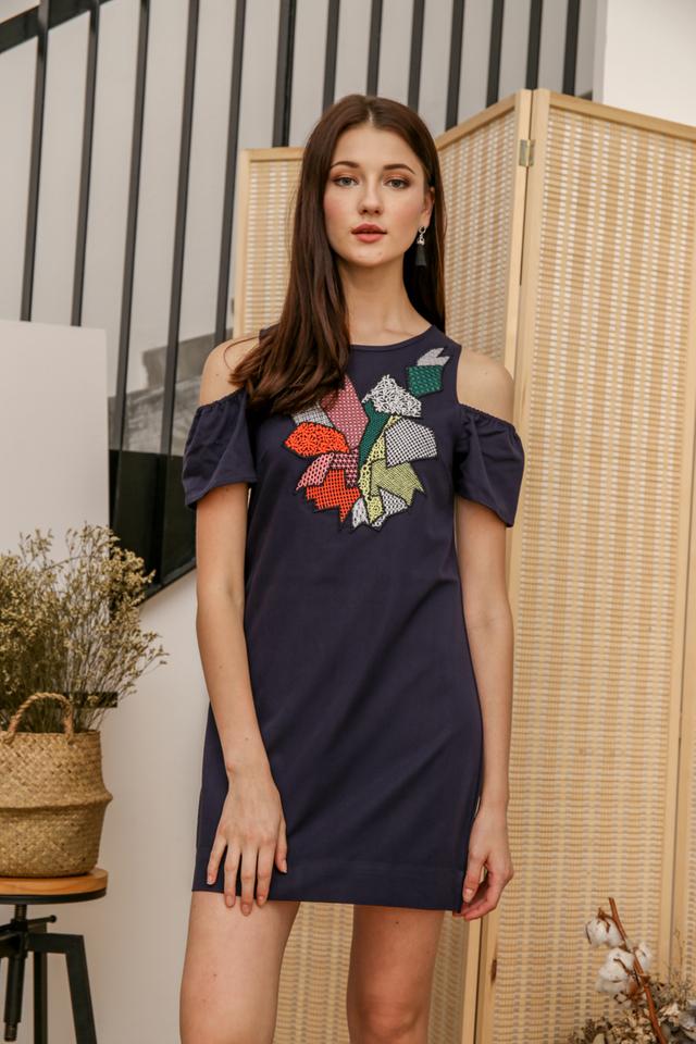 Judia Geometric Cold Shoulder Dress in Navy Blue