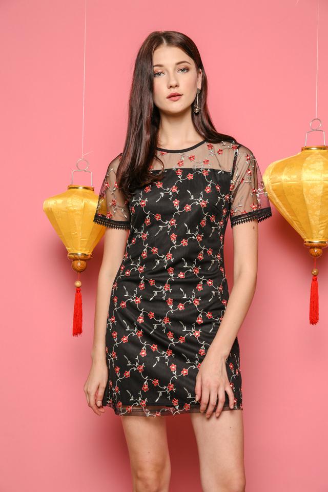 Alicia Organza Embroidery Dress in Black