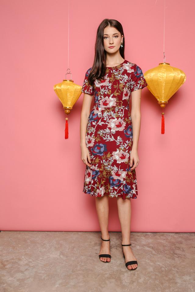 Valerie Printed Midi Dress in Wine Red