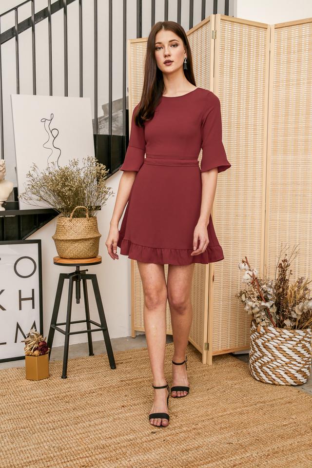 Gerraine Ruffles Dress in Terracotta