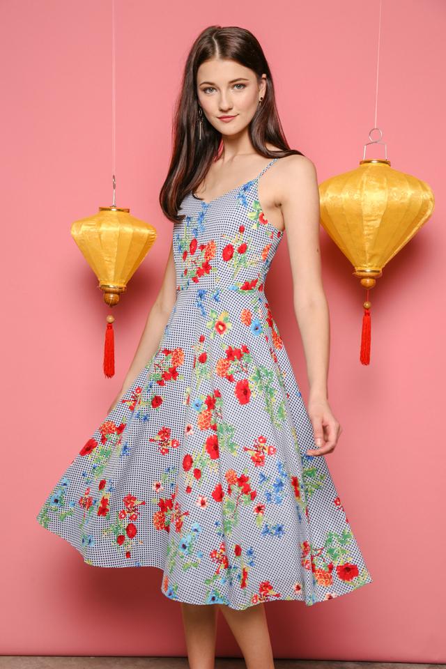 Keri Midi Dress in Gingham Florals (L)