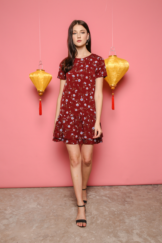 Melody Double Tiered Dress in Wine Red