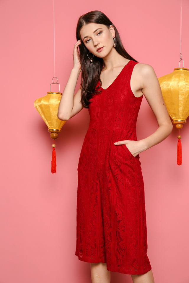 Charlene Lace Midi Jumpsuit in Red