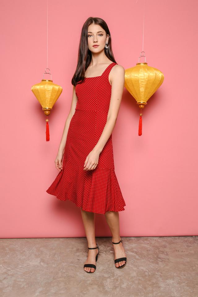 Fiona Polka Dot Midi Dress in Red