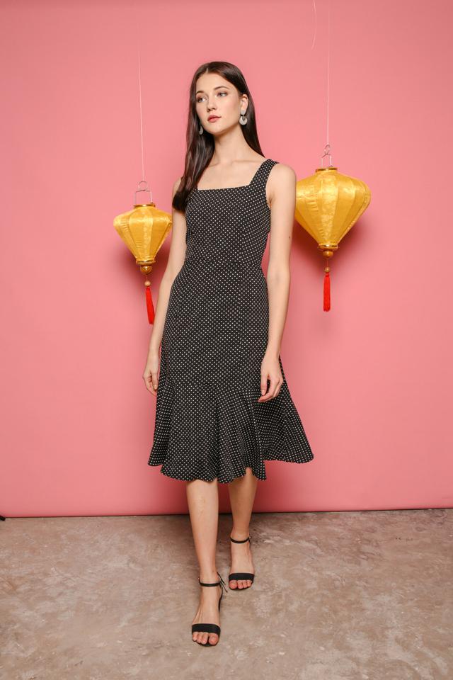 Fiona Polka Dot Midi Dress in Black (S)
