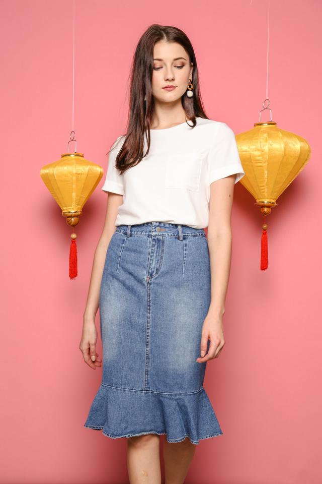 Felisa Denim Peplum Skirt in Blue