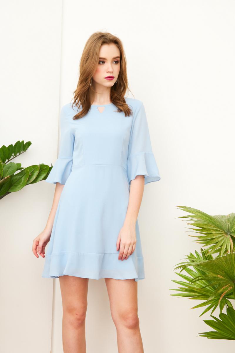 5fb86dadb0 Vernissa Keyhole Bell Sleeve Dress in Powder Blue