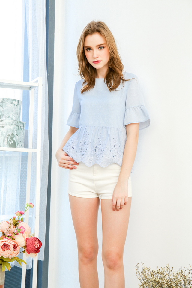 Whimsical Eyelet Top in Powder Blue