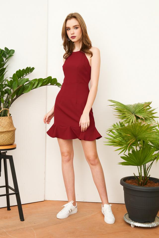Kora Halted Fluted Hem Dress in Red