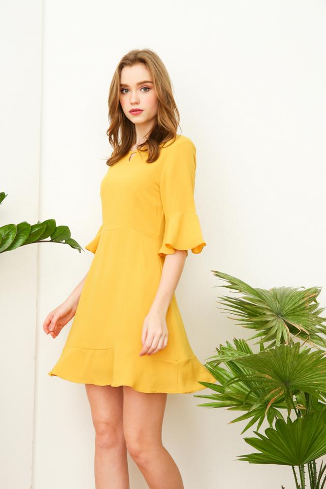 Vernissa Keyhole Bell Sleeve Dress in Mustard