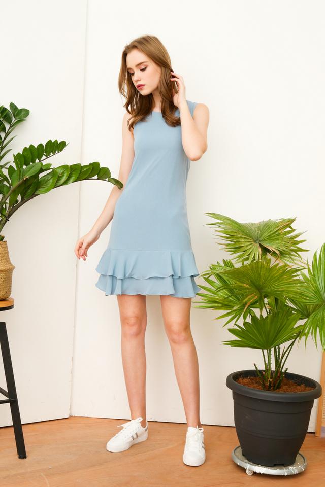 Beatrice Double Tiered Hem Dress in Seafoam Blue