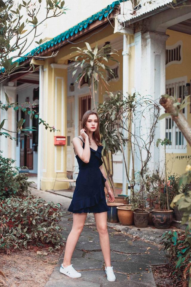 Evie Ruffled Cami Dress in Navy Blue