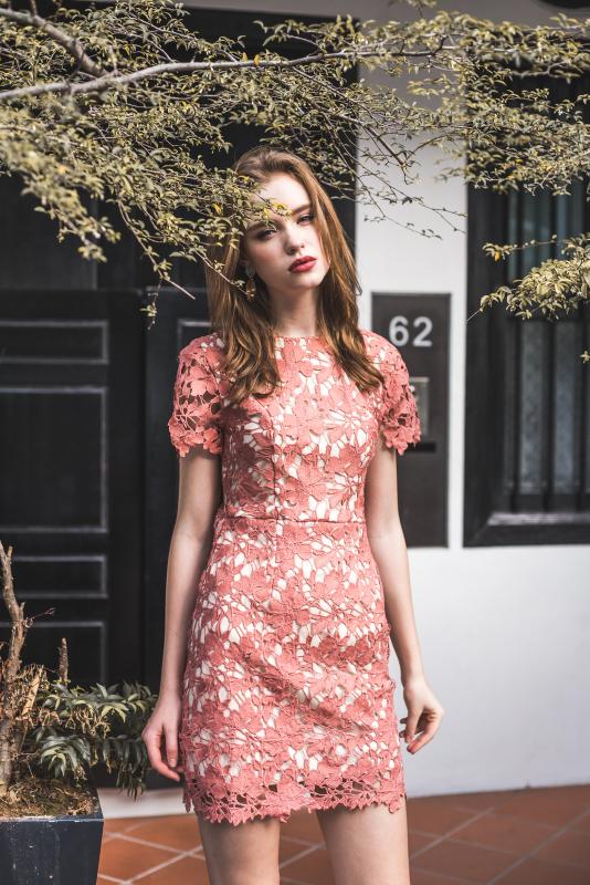 Demi Crochet Dress in Terracotta