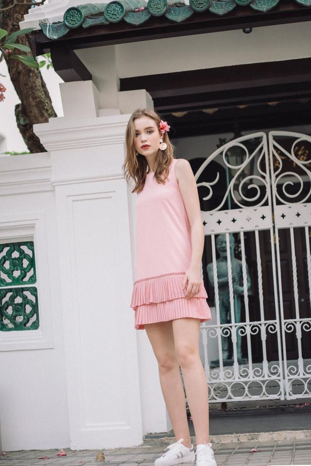 Carl Double Tiered Pleats Dropwaist Dress in Baby Pink