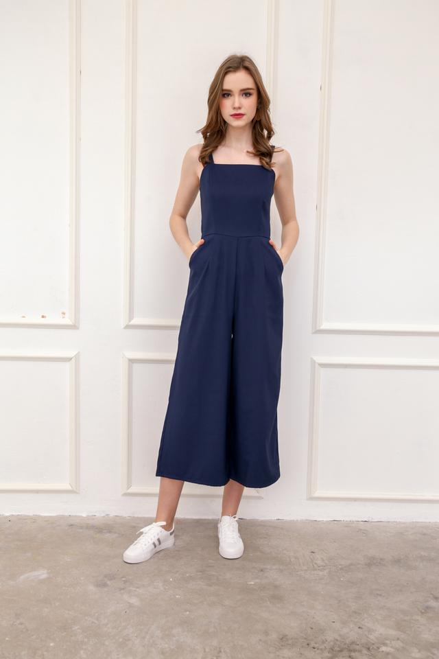 Zara Square Neckline Jumpsuit in Navy Blue