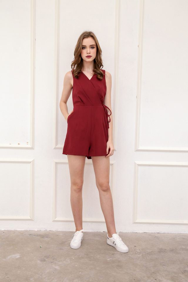 Blanca Faux Wrap Playsuit in Wine Red