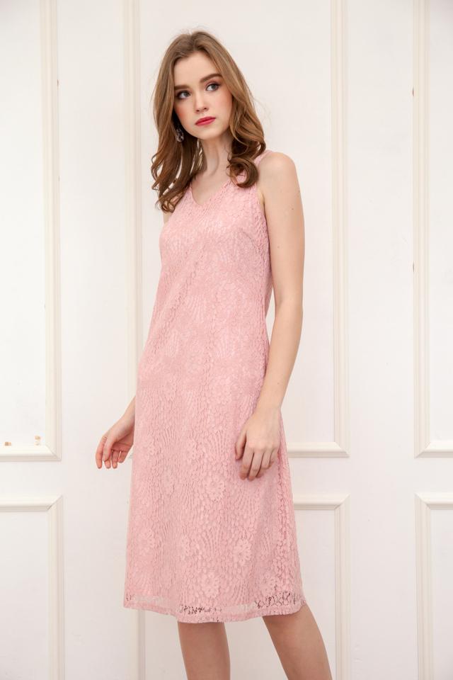 Kera V Neck Lace Midi Dress in Pink