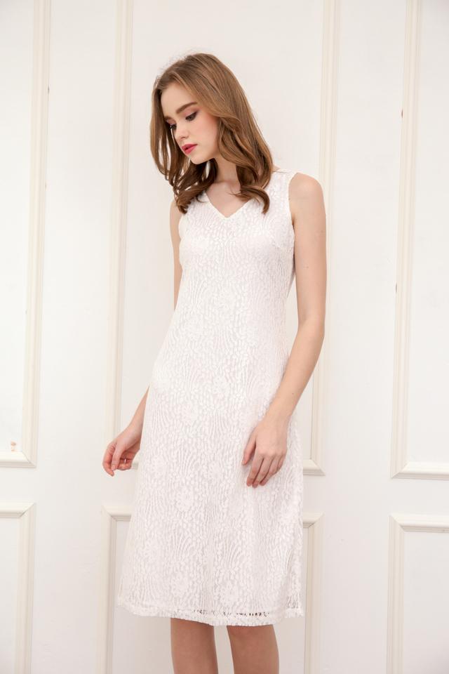 Kera V Neck Lace Midi Dress in White