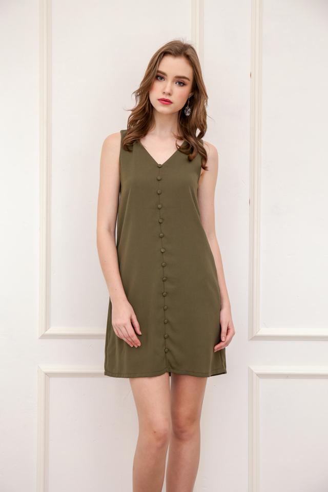 Evon Button Down Trapeze Dress in Olive
