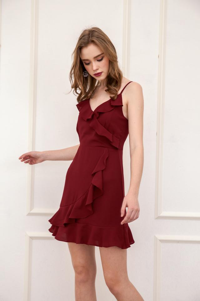 Evie Ruffled Cami Dress in Brick Red