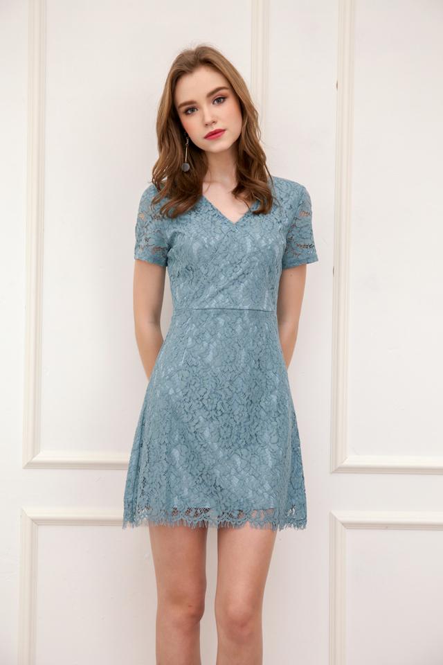 Desiree Faux Wrap Lace Dress in Seafoam (M)
