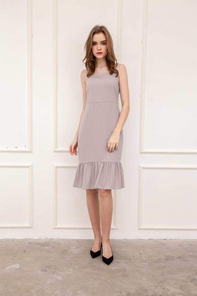 Vann Dropwaist Midi Dress in Grey (L)
