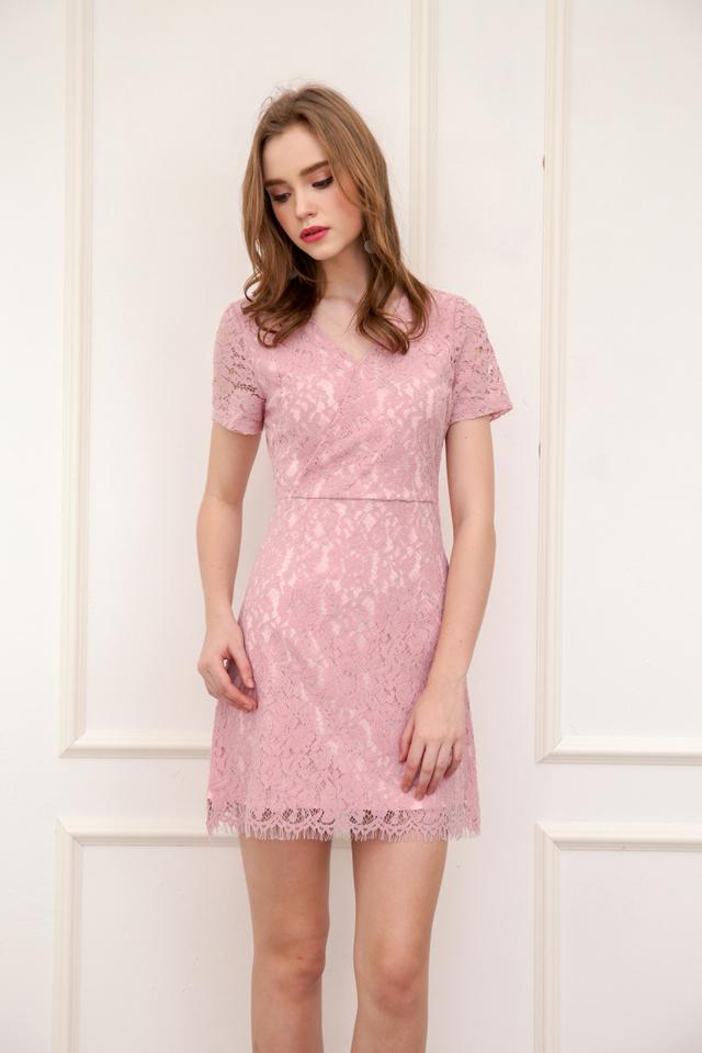 Desiree Faux Wrap Lace Dress in Pink (L)