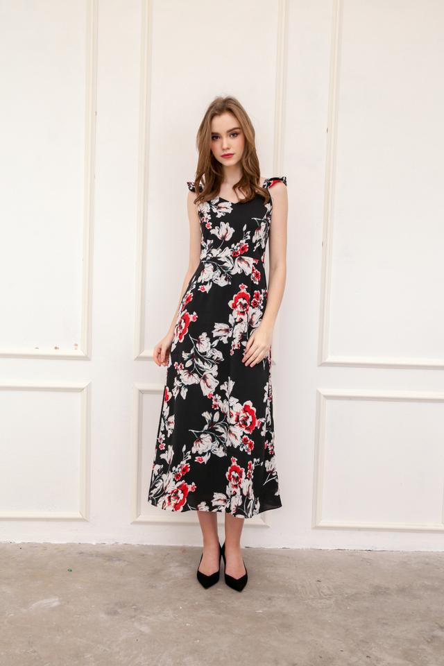 Macie Ruffles Maxi Dress in Black