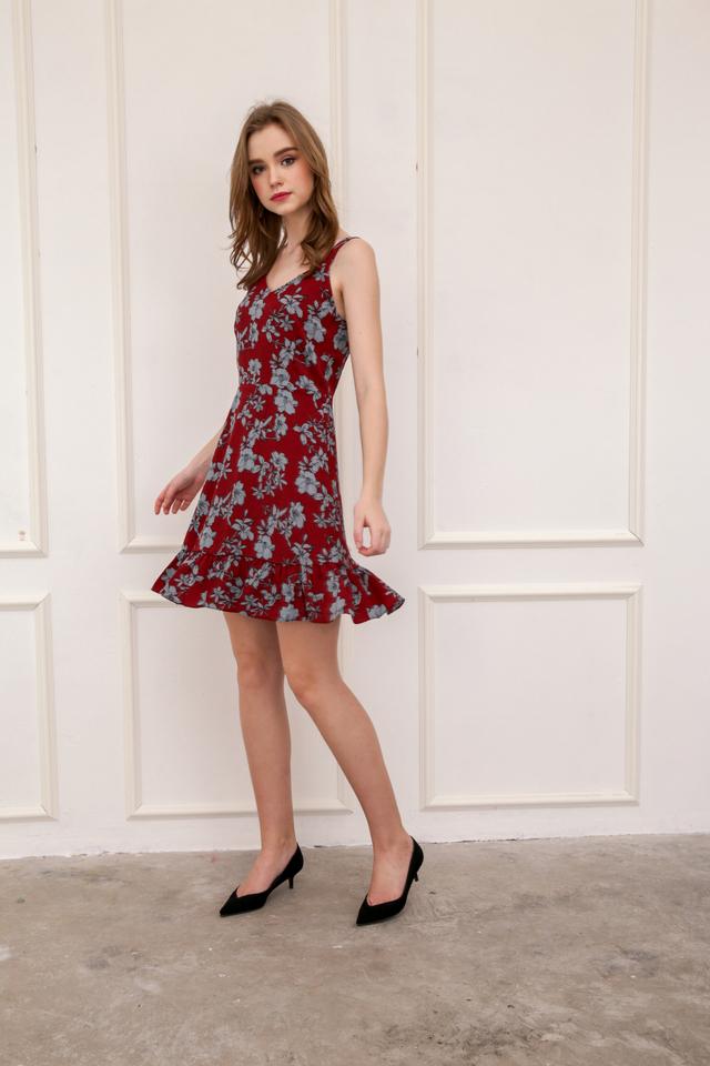 Milicent Floral Dropwaist Dress in Brick Red