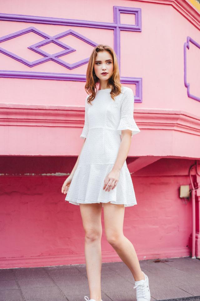 Mirella Eyelet Dropwaist Dress in White