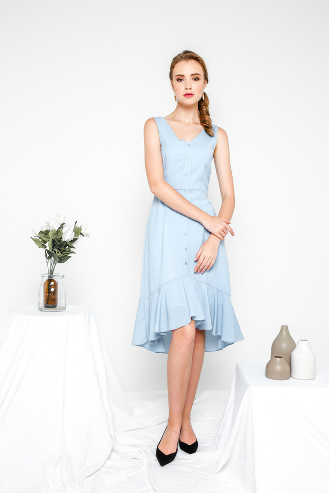 Allegra Button Down Ruffles Dress in Sky Blue