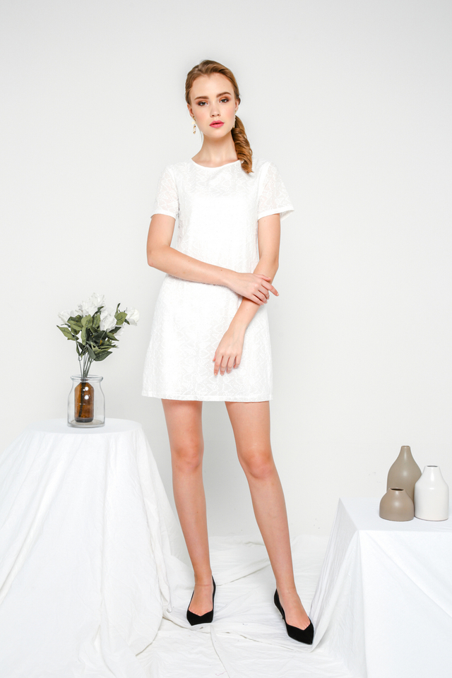 Laurelle Ice-Cream Eyelet Dress in White