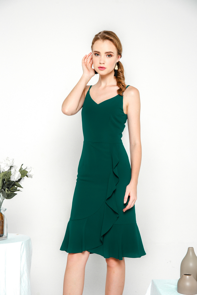 Adrielle Ruffled Spag Midi Dress in Emerald