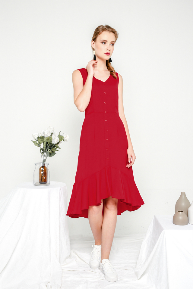 Allegra Button Down Ruffles Dress in Ruby Red