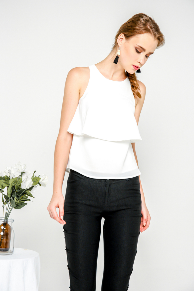 Sienna Layered Flare Top in White