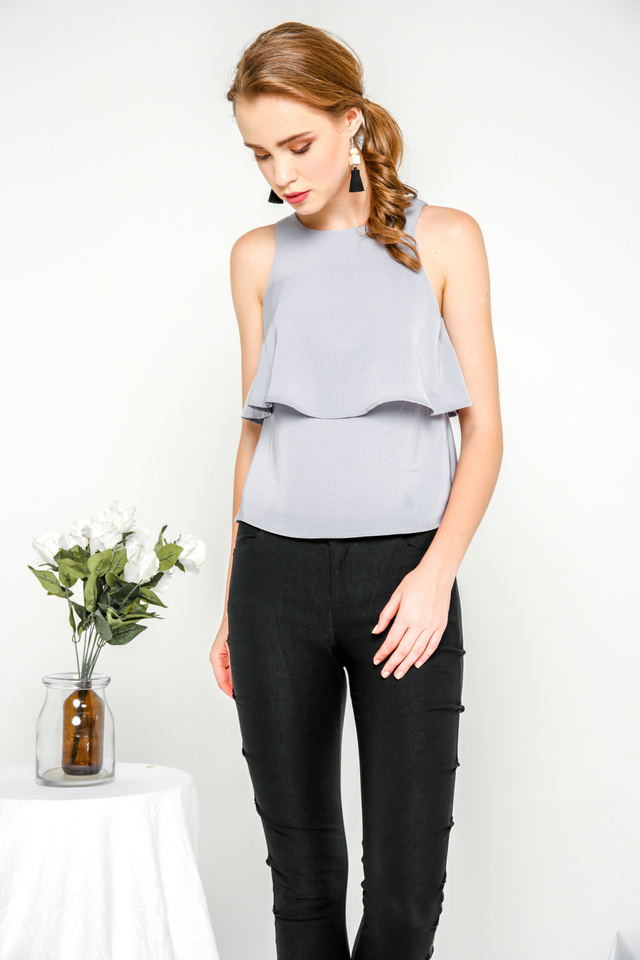 Sienna Layered Flare Top in Grey