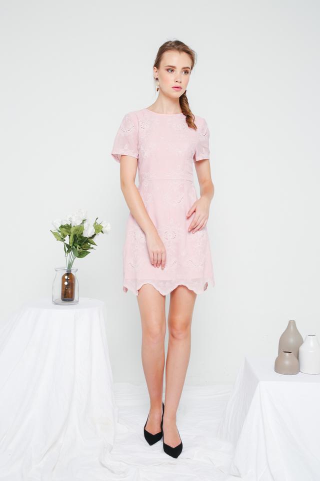 Eira Eyelet Sheath Dress in Pink
