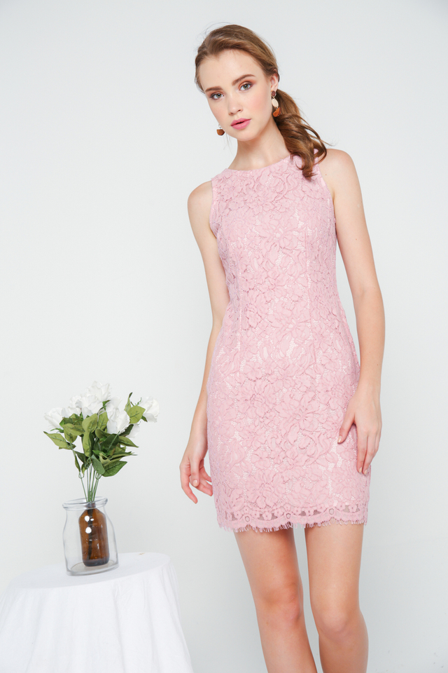 Emmarie Floral Lace Dress in Pink